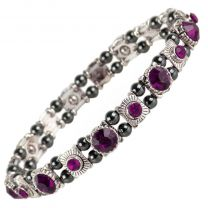 Ladies Magnetic Hematite Crystals Bracelet Pretty Colours Free Gift Box-Amethyst