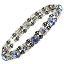 Ladies Magnetic Hematite Crystals Bracelet Pretty Colours Free Gift Box-Topaz