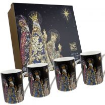 Beautiful Set of Four China Mugs Three Kings Design by Jane Crowther Of Bug Art