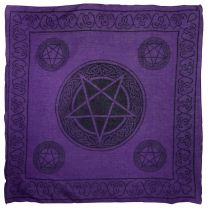 Pickled Moon Pentagram Wall Hanging Altar Cloth Scarf Purple Pentacle Cotton Lightweight Pagan
