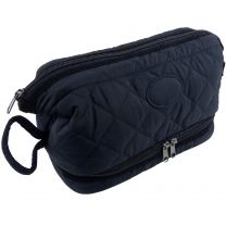 Mens Large Quilted Washbag by Danielle; Heritage Collection Travel Toiletries Handy Classic Navy Blue