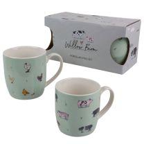 Willow Farm Set of 2 Porcelain Mugs Cotsworld Gift Boxed