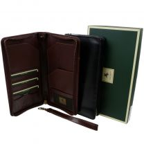 Visconti Mens Leather Travel Wallet Credit Cards Passport Holder 2 Colours Black Brown
