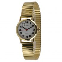 Ladies Gold Expandable Strap Watch by Ravel Bold Easy Read Numbers Gift