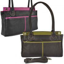 Ladies Leather Two-Tone Shoulder Bag by Gorjus Classic Handbag