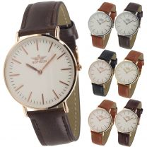 Mens Slim Classic Watch by Softech PU Leather Rose Gold Silver Designer
