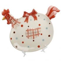 Spotted Rooster Ceramic Plate & Stand