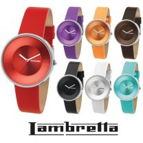 Genuine Lambretta Cielo 37 Quartz Watch Leather Strap 7 Colours Iconic Sixties 60's Retro