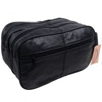 Mens OakRidge Large Soft Black Leather Toiletry WashBag Travel Toiletries