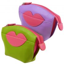 Ladies Zipped Leather Coin Purse, Hot Lips ili New York