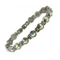 Ladies Titanium Magnetic Bracelet with Chrome & Pearlescent Crystals Finish Stylish Magnets Health Therapy