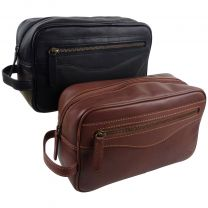 Oakridge Leather Mens Medium Travel Washbag/Toiletry Bag