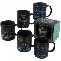 Black Chalk Talk Collection Chalkboard Style China Mug/Cup Gift Boxed 5 Designs