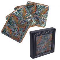 William Morris Set of 4 Coasters  Peacock Tapestry Design Gift Boxed
