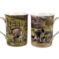 Gift Box Set of 2 China Mugs from the Collie and Sheep Design by The Leonardo Collection