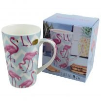 Pink Flamingo Fine China Latte Mug with Gift Box
