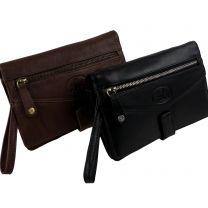 Mens Vintage Soft Leather Wrist Man Bag Travel Organiser by Rowallan 2 Colours Handy