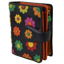 Ladies Leather Small Flower Design Tabbed Purse Wallet by Visconti; Daisy Collection