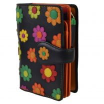 Ladies Leather Medium Flower Design Tabbed Purse Wallet by Visconti; Daisy Collection Gift