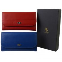 Ladies Leather Flap Over Purse Wallet by Visconti; Enya Collection Gift Box 21 Credit Cards