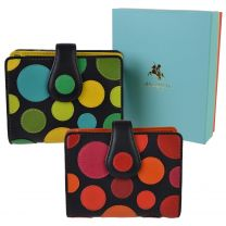 Ladies Leather Polka Dot Design Purse Wallet by Visconti Gift Boxed Spots