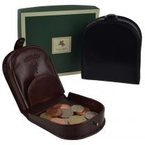 Mens Classic Leather Tabbed Coin Tray by Visconti; Monza Collection Gift Boxed