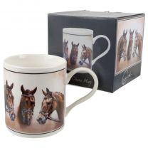 Fine China Lucky Three Horse Mug/Cup by Cachet Race Jump Horse Rider Gift Boxed