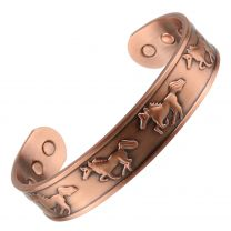Chunky Copper Magnetic Bracelet/Bangle Wild Horses Design 6 Magnets Health Rare Earth NdFeB