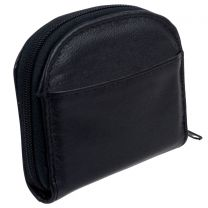 Oakridge Leather Unisex Black Zip-Around Coin Purse