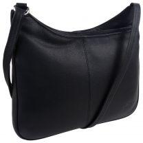 Ladies Soft Black Leather Cross Body Handbag by GiGi Marc Chantel Collection