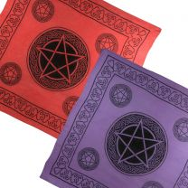 Pickled Moon Pentagram Wall Hanging Altar Cloth Scarf Lightweight Cotton