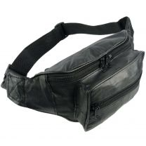 Top Quality Mens Ladies Leather Black Waist Bumbag Travel by Oakridge Fanny Pack