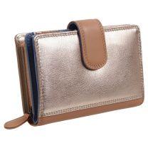 PrimeHide Leather Ladies London Purse Wallet Metallic Rose Gold