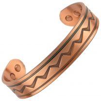 Chunky Copper Magnetic Bracelet/Bangle Zig Zag Design 6 Magnets Health Rare Earth NdFeB