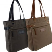 Ladies Canvas Leather Large Tote/Shopping Handbag by TARANIS Travel Spacious