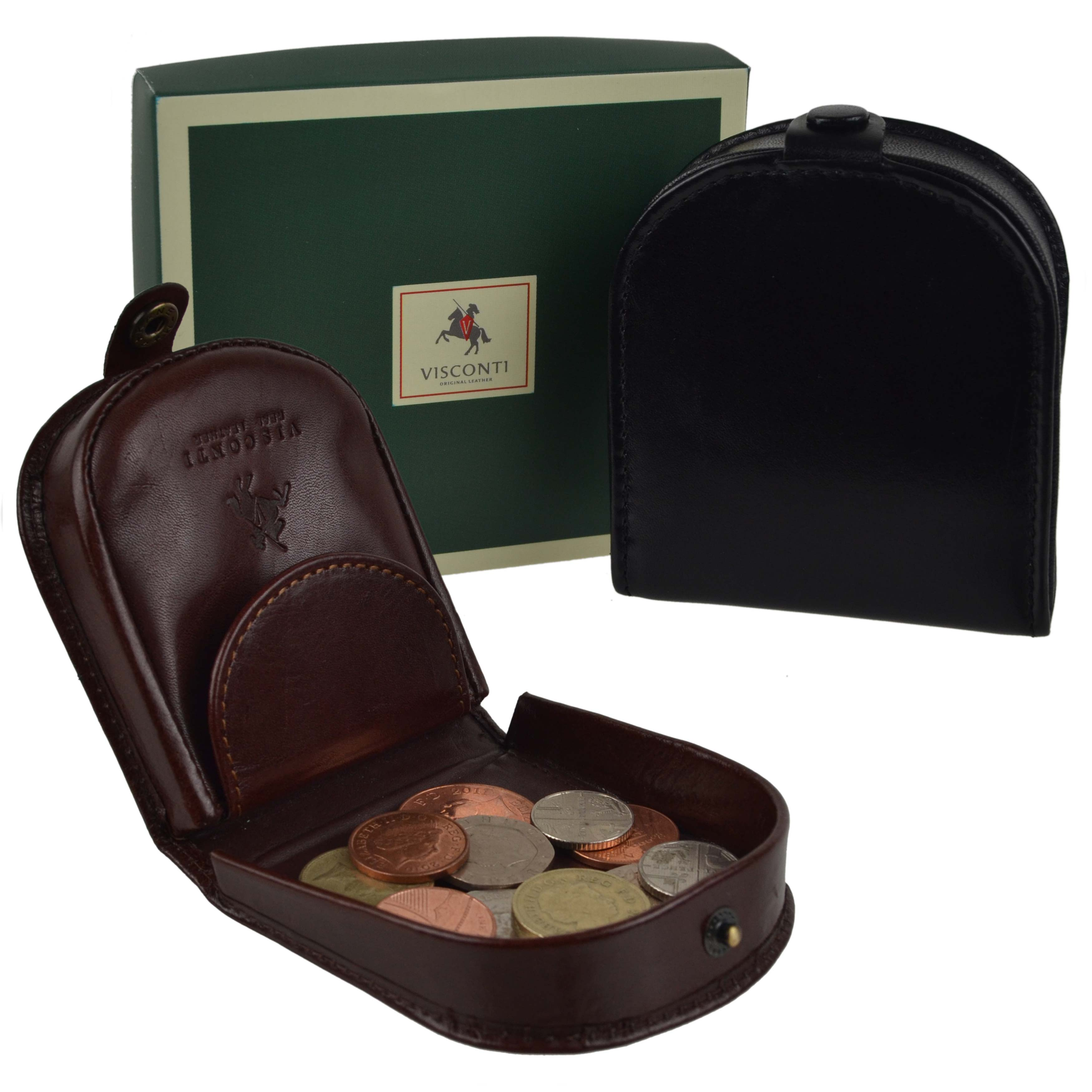 thumbnail 13 - Mens-Classic-Leather-Tabbed-Coin-Tray-by-Visconti-Monza-Collection-Gift-Boxed