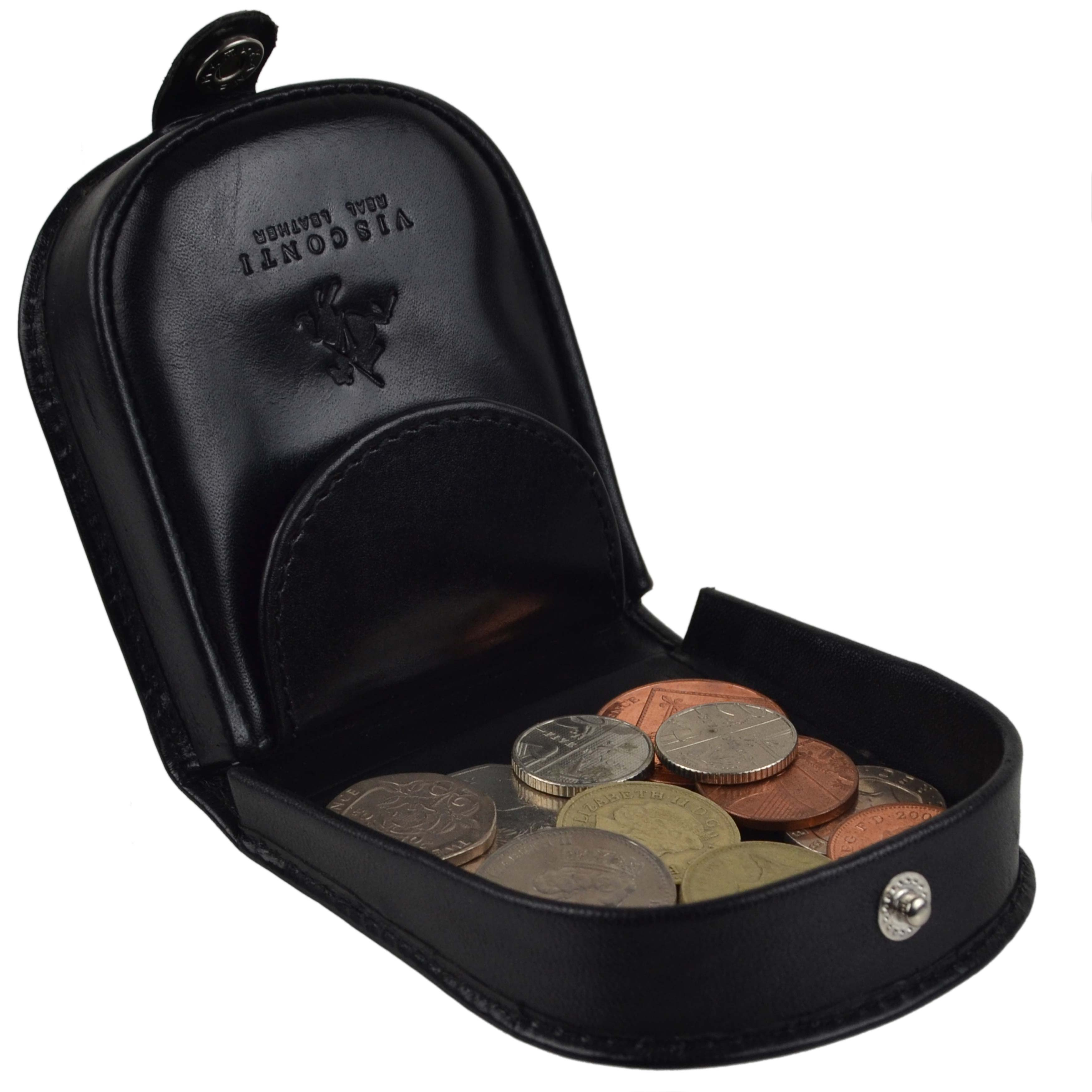 thumbnail 12 - Mens-Classic-Leather-Tabbed-Coin-Tray-by-Visconti-Monza-Collection-Gift-Boxed